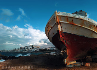 Naxos city, autumn time