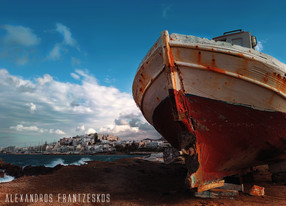Naxos city, autumn time