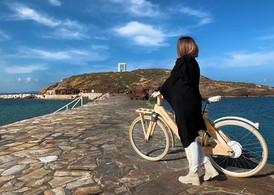 Exploring Naxos city with our wooden E-bikes