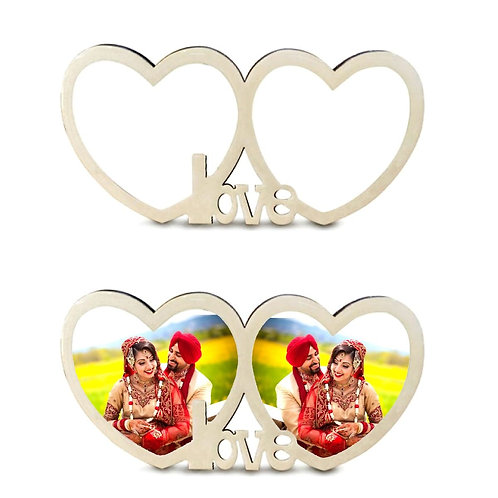 PERSONALIZED LOVE DOUBLE HEART SHAPE GLOBULITE MDF PHOTO FRAME