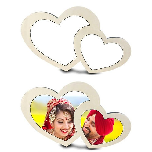 PERSONALIZED DOUBLE HEART SHAPE GLOBULITE MDF PHOTO FRAME