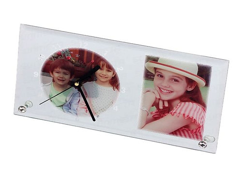 PERSONALIZED GLASS PHOTO FRAME WITH CLOCK