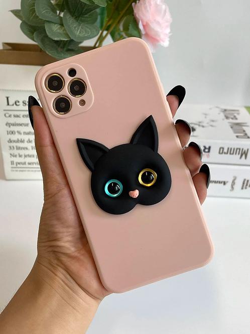 Case para iPhone Gatinho 3D - Rosa