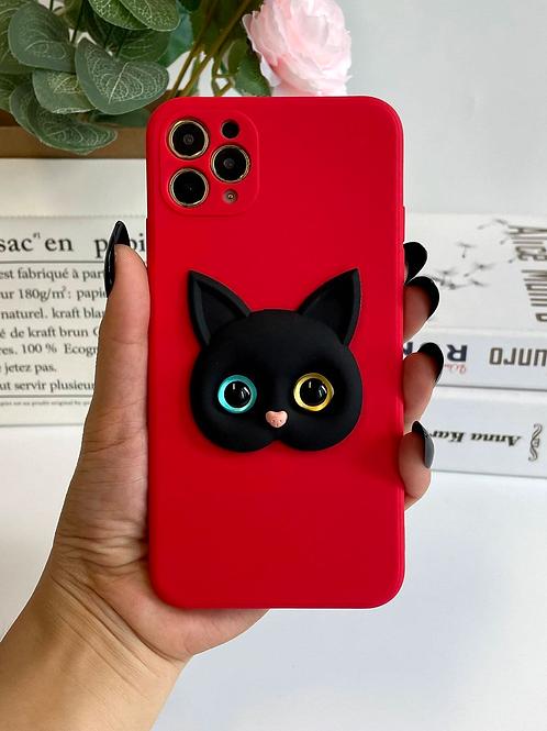 Case para iPhone Gatinho 3D - Vermelha