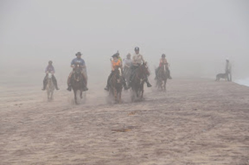 Namib Desert Safari riders on a foggy beach