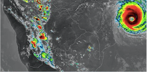 Rain moving over Namibia 'chased' by the cyclone