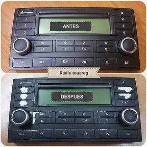 Radio touareg restauramos botones desgastados navegadores botones mercedes bmw audi renault seat no son pegatinas es trababo de restaurador total precio economico barato motos piñas
