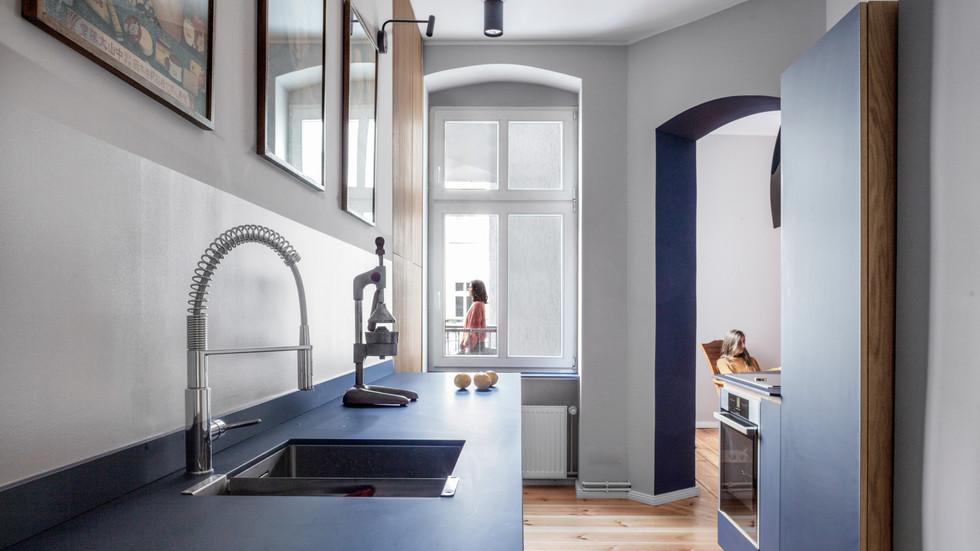 Altbau Schliemann Küche Blick Esszimmer