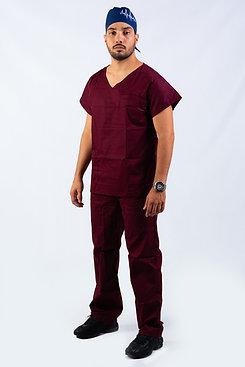 Pijama Cirúrgico Evolution logo oficial CBC Gola V Vinho