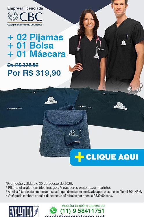 02 Pijamas Cirúrgico Gola V Evolution logo Oficial CBC