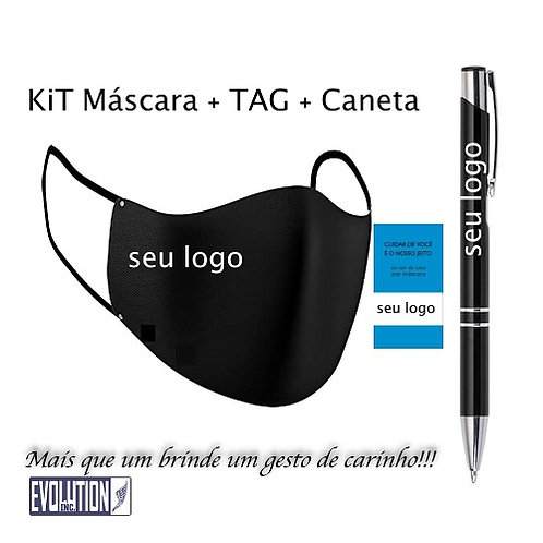 50 Kits Máscara + Caneta + Tag Personalizada