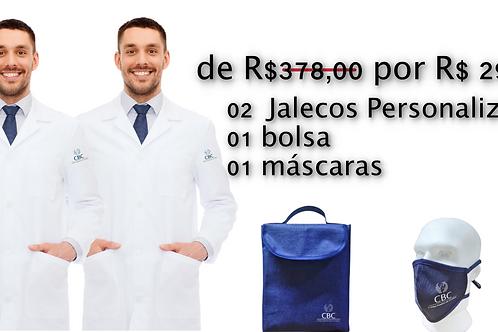 02 Jalecos Personalizados, em Super  Microfibra, com logo CBC + Bolsa + Máscara