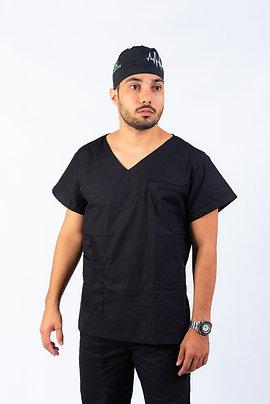 Pijama Cirúrgico Gola V Preto