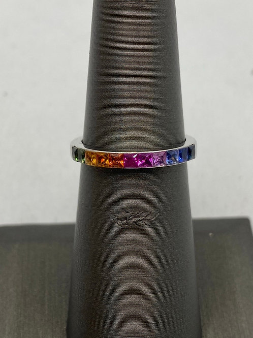 14KT White  Gold multicolored Sapphire Ring