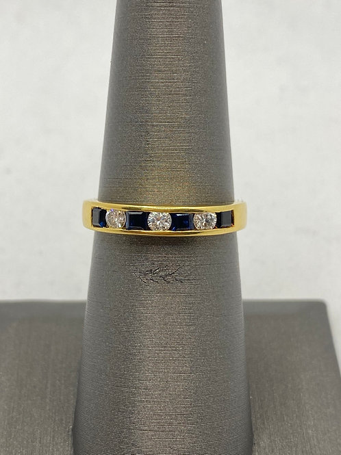 18KT Gold Sapphire and Diamonds band