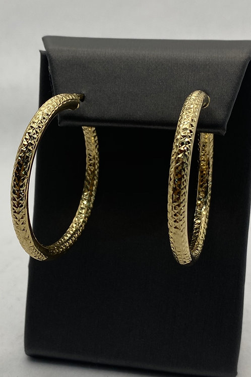 14KT Gold Large Diamond Cut Hoops
