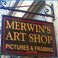 Merwins Art Shop Sign outside their New Haven store front