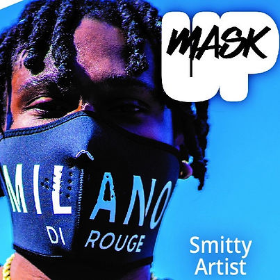 Local New Haven artist creates covid face mask with the phrase Mask Up and the title Smitty Artist
