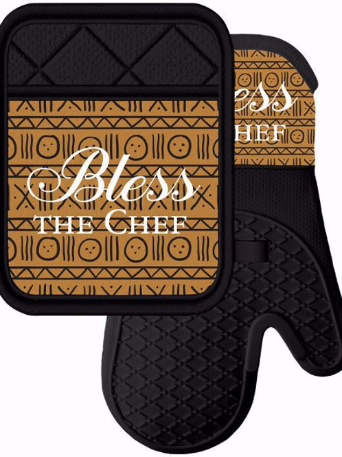 Bless the Chef Mitt & Pot Holder Set