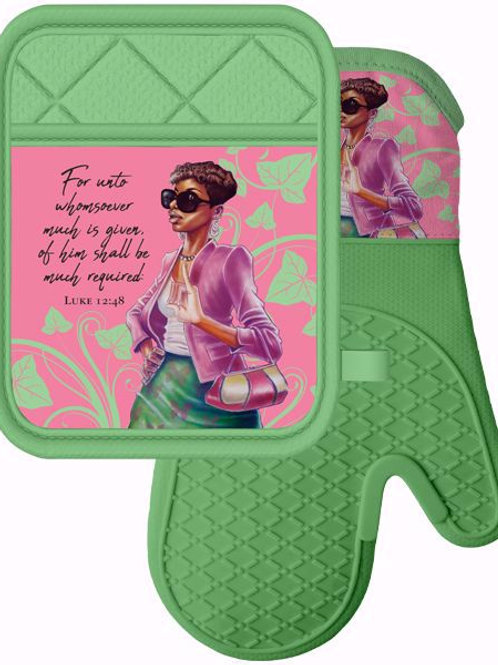 Pink and Green Mitt & Pot Holder Set