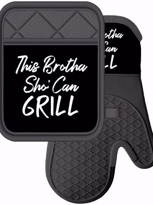 This Brotha Sho Can Grill Mitt & Pot Holder Set