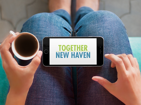 Together New Haven text on a phone supporting small business owners