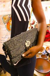 Ukuthula African Handbag Wicker Charcoal