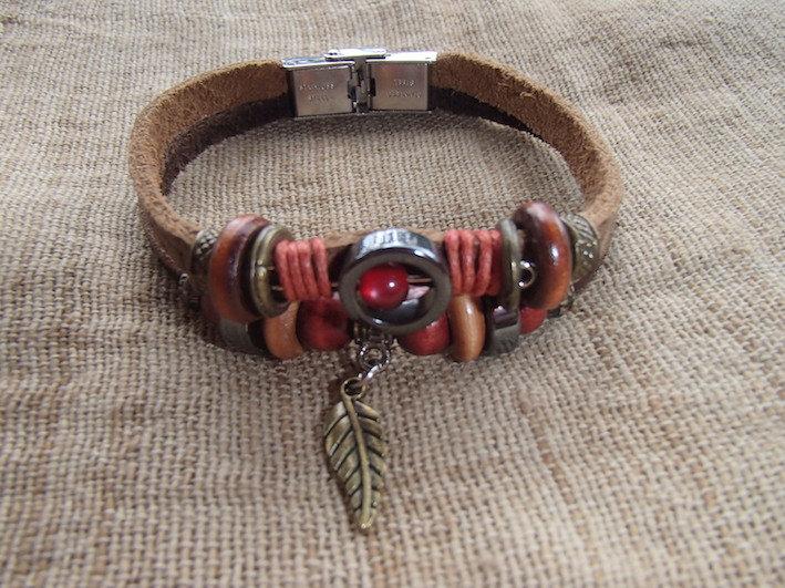 Bracelet Cuir Marron - Plume - Fait main