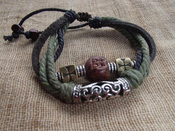 Bracelet Cuir - Tribal - Fait main