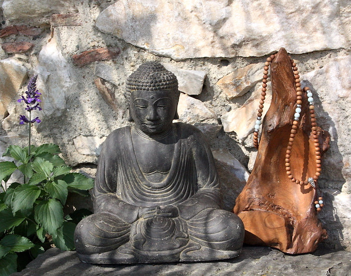 Mala de Méditation - Bois de Santal / Aventurine - Fait main