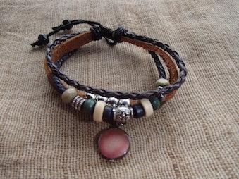 Bracelet Cuir - Chakra du coeur - Fait main