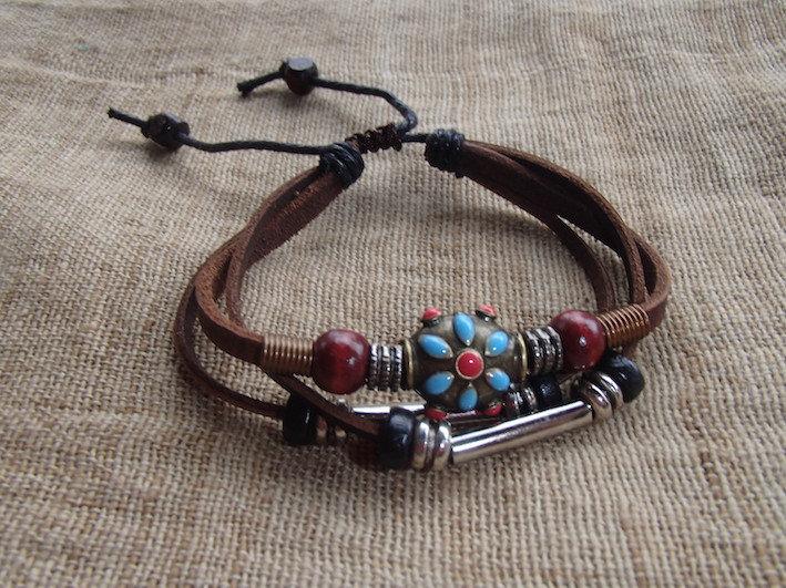 Bracelet Cuir Marron - Fleur - Fait main