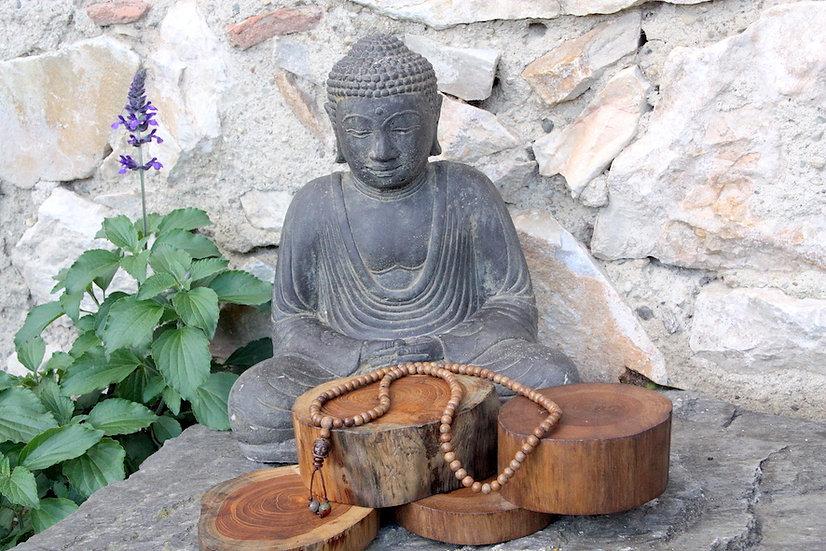 Mala de Méditation - Bois / Tête de Bouddha - Fait main