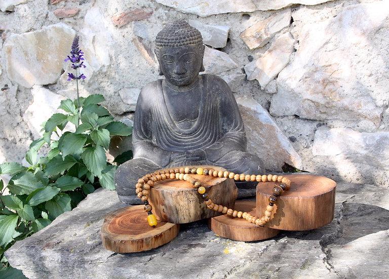 Mala de Méditation - Chakra Plexus Solaire - Fait main