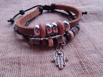 Bracelet Cuir - Main de Buddha - Fait main