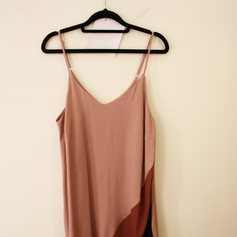 SLIP DRESS CURTO ROSÉ/BORDÔ/PRETO