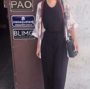 KIMONO PÁSSAROS + MACACÃO PRETO MALHA