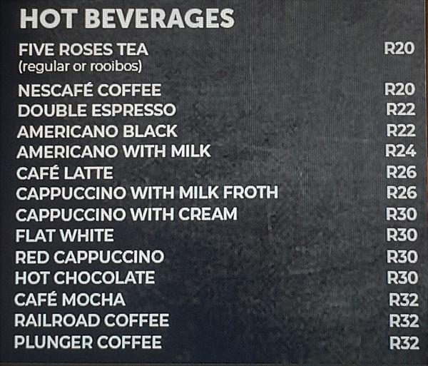 tea and coffee menu