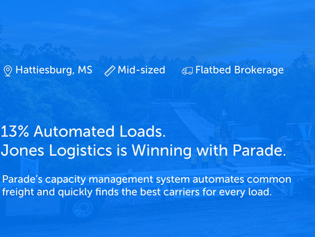 13% Automated Loads. Jones Logistics is Winning with Parade.