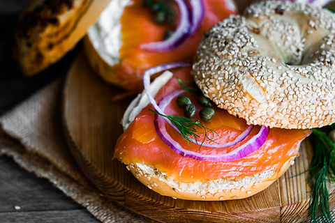 Bagels with cream cheese and smoked salm