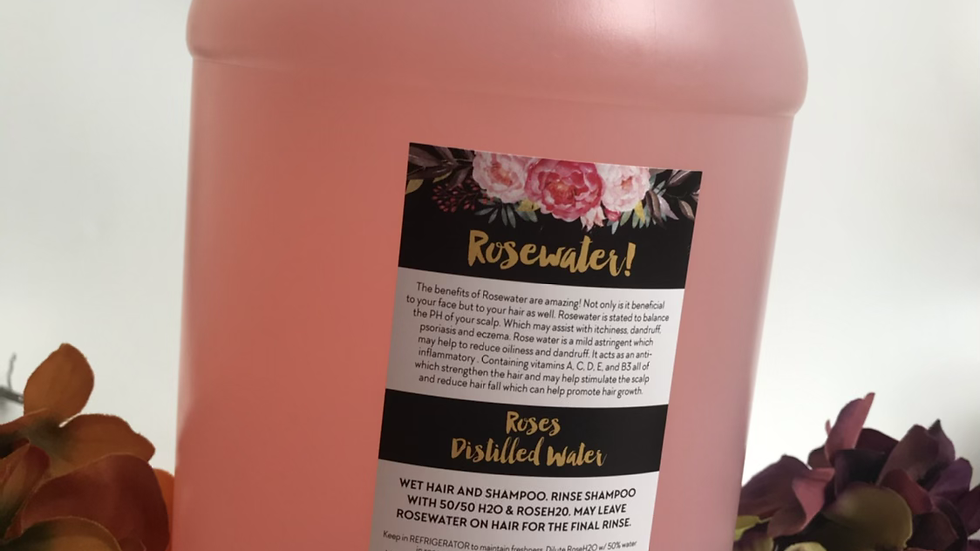 Rosewater For Healthy Hair/Face Toner Half Gallon