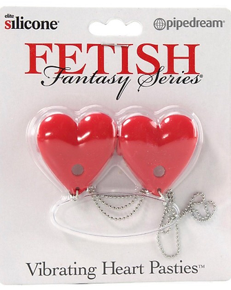 Fetish Fantasy Vibrating Heart Pasties in Red