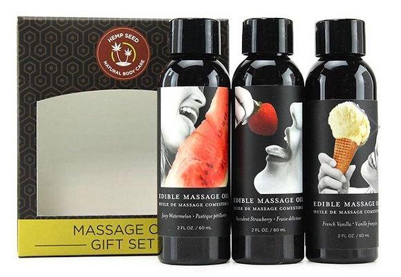 Hempseed Edible Massage Oil Gift Set in 2oz/60mL x 3