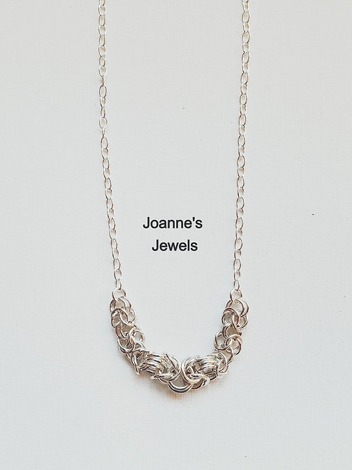 "Byzantine Weave Focal on 18"" Sterling Silver Chain"