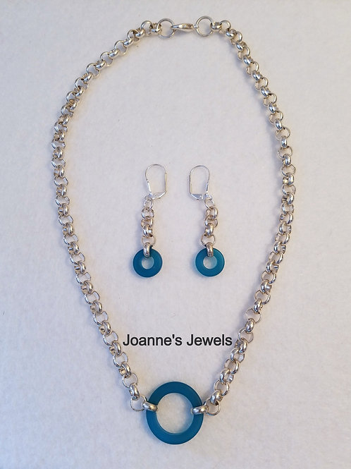 Teal Sea Glass and Silver Necklace & Earrings Set