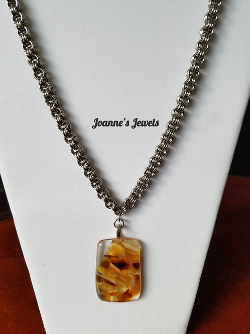 Stainless Steel Necklace w/Fused Glass Pendant