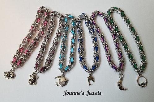 Byzantine Weave Stretch Bracelets w/Charms