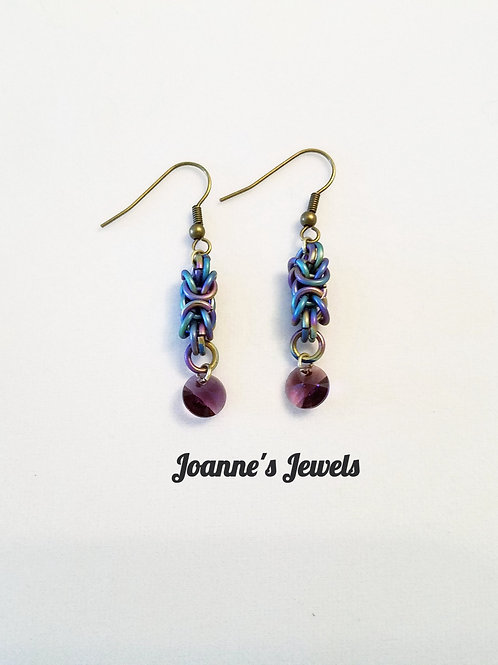 Rainbow Anodized Titanium &  Swarovski Crystal Earrings