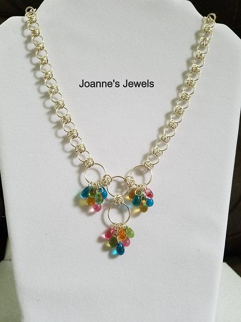 Orbital Weave Necklace With Glass Teardrops