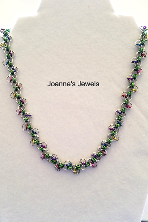 "19"" Rainbow Bits Anodized Aluminum Necklace"